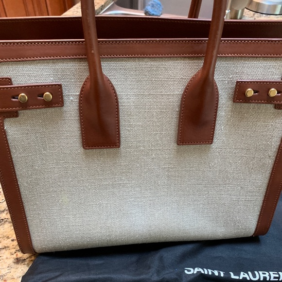 75df6b17464 YSL Small linen and brown Sac de Jour